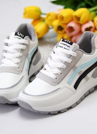 Универсальные белые повседневные женские кроссовки со светоотражающими полосами весна 20214 фото