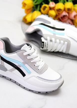 Универсальные белые повседневные женские кроссовки со светоотражающими полосами весна 20213 фото
