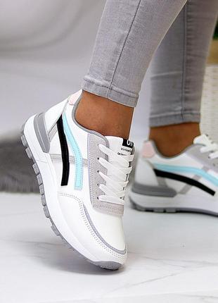 Универсальные белые повседневные женские кроссовки со светоотражающими полосами весна 20215 фото