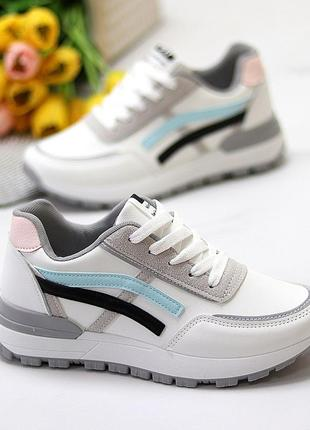 Универсальные белые повседневные женские кроссовки со светоотражающими полосами весна 20211 фото