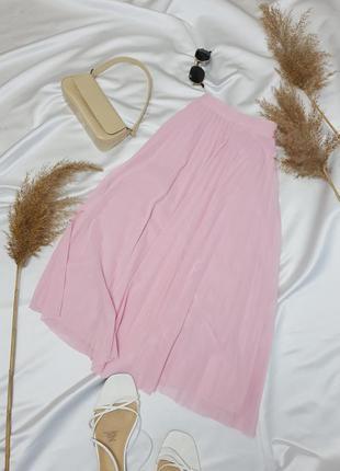 Стильна плісеровна спідничка ніжного рожевого кольору від bershka  нова!2 фото
