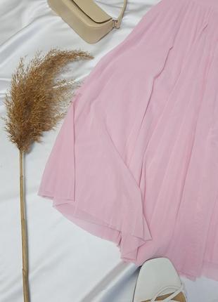 Стильна плісеровна спідничка ніжного рожевого кольору від bershka  нова!4 фото