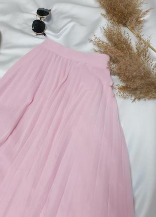 Стильна плісеровна спідничка ніжного рожевого кольору від bershka  нова!3 фото