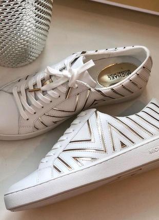 Кроссовки кеды белые michael kors whitney lace up optic white/gold кожа оригинал2 фото