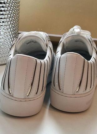 Кроссовки кеды белые michael kors whitney lace up optic white/gold кожа оригинал4 фото