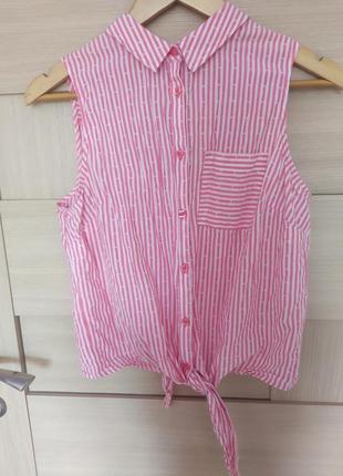 Красивая стильная лёгкая майка футболка с завязками без рукавов полосатая розовая
