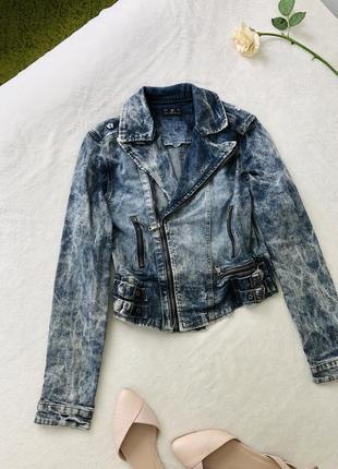 Джинсовая куртка короткая джынсовка джинсова куртка косуха xs/s