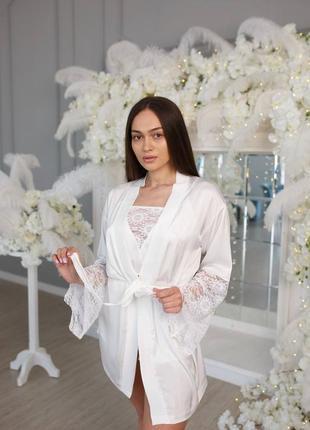 Шелковый комплект с кружевом пижама халат майка шорты
