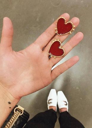 Серьги серёжки  сердца сердечки золотистые новые стильные модные