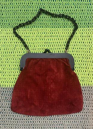 Винтажная замшевая сумка  необычного дизайна