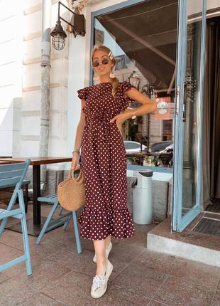 Удлиненное весенее платье в горошек