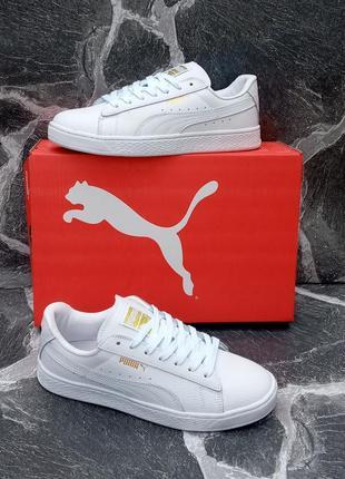 Белые кроссовки puma classic кожаные,весенние,женские