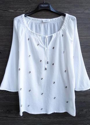 Белоснежная блуза из хлопка gina benotti.