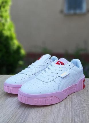 Кроссовки женские puma cali белые на розовой