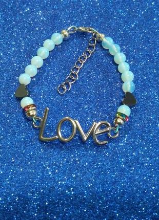 Браслет love-лунный камень,гематит,агат на ювелирном тросике.