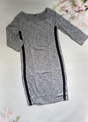 Сексуальное облегающее серое платье короткое плаття меланж