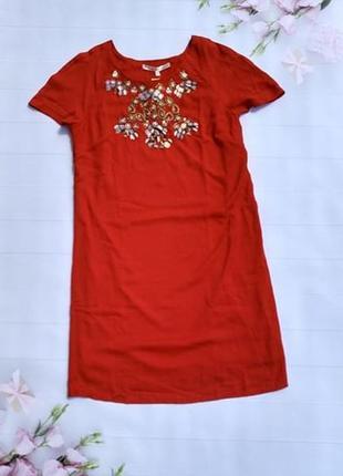 Красное платье с бисером свободного кроя плаття uttam london