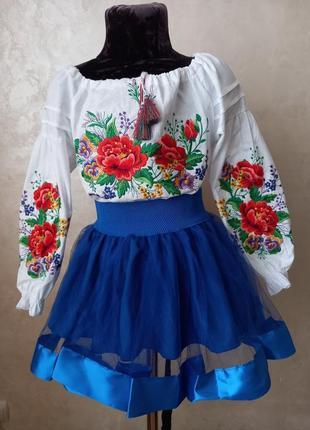 Натуральна вишиванка в стилі бохо. яркая хлопковая вышиванка для девочки