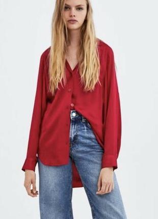Яркая сатиновая блузка блуза р. s/м zara с удлиненной спинкой