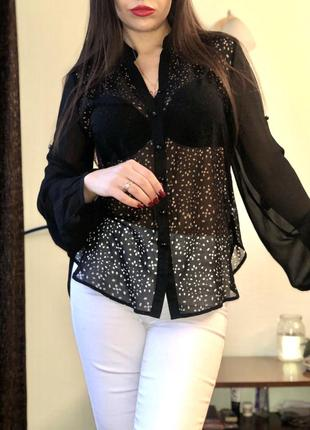 Чёрная легкая блуза с объёмными рукавами guess zara h&m mango
