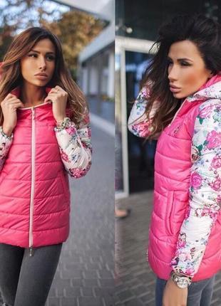 Красивая курточка на флисе, ярко-розовая с цветами