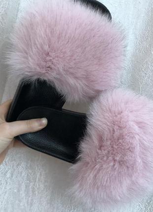 Тапочки из натурального меха лисы, натуральный мех розовые