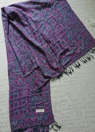 Красивый палантин cashmere/ теплый широкий шарф в принт #90%кашемир+10%шелк#