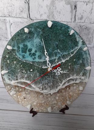 Часы картина море эпоксидная смола годинник подарунок