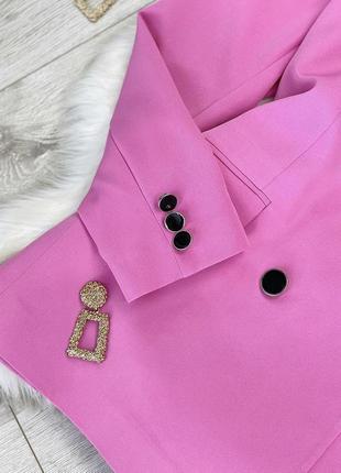 Яркий розовый пиджак жакет двубортный over size3 фото