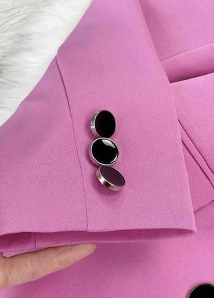 Яркий розовый пиджак жакет двубортный over size4 фото