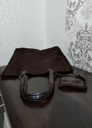 Шикарная женская замшевая  сумка шоппер +ключница б/у