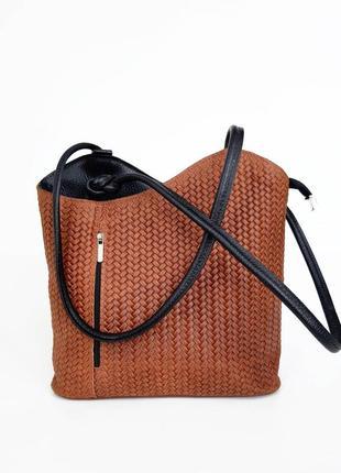 Италия.  кожаная сумка рюкзак трансформер