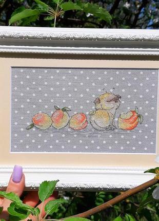 Картина в технике вышивка крестом ручная работа мопс и персики
