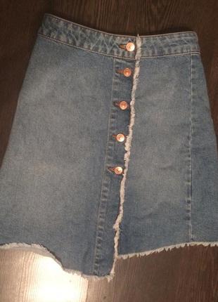 Джинсовая юбка трапеция на пуговицах zara