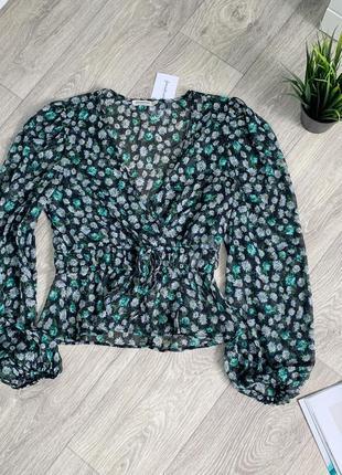 Легкая шифоновая блузка в цветочный принт stradivarius