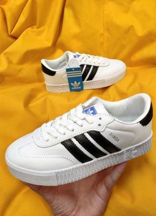 Женские кроссовки adidas samba (белые-черные)