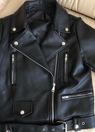Косуха zara куртка кожаная чёрная косуха короткая кожанка zara