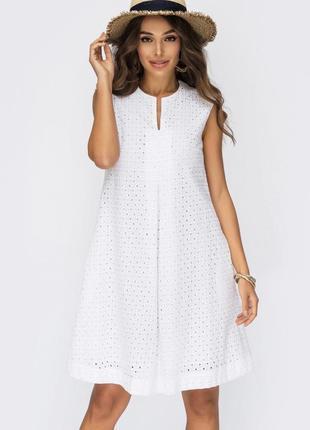 Разные цвета! 100% натуральное хлопковое хлопок платье из прошвы белое до колен миди