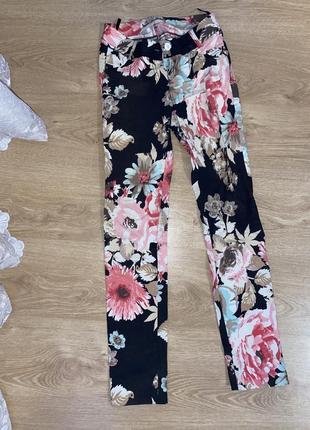 Женские цветные штаны,яркие штаны в цветочный принт