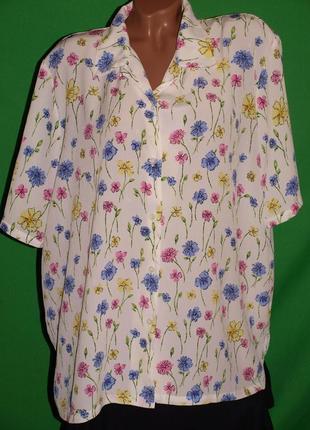 Красивая блуза (4хл) с цветочным узором, без нюансов, отлично смотрится.