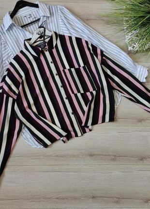 Полосатая оверсайз рубашка блузка primark p xl-xxl