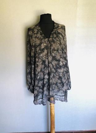 Блуза шифон шикарный рукав цветочный принт