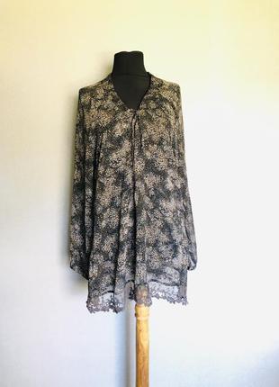 Блуза шифон шикарный рукав цветочный принт2 фото