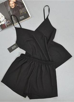 Черный комплект майка шорты . пижамы женские