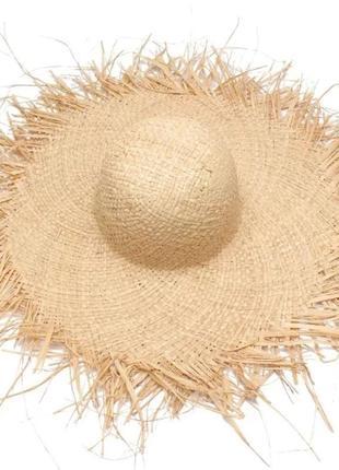 Шляпа соломенная  широкополая с рваными краями