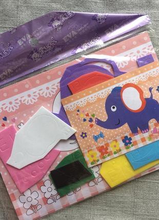 Набор для детского творчества аппликация слоник фоамиран на клеевой основе