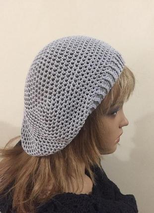Летняя шапка-сетка. стиль бохо. вязание крючком.