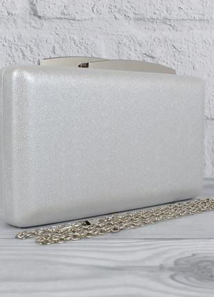 Вечерний клатч rose heart 7888 серебристый, сумочка на цепочке