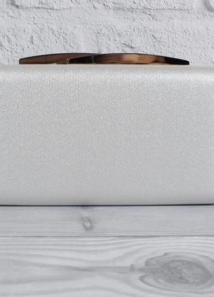 Вечерний клатч rose heart 7888 серебристый, сумочка на цепочке2 фото