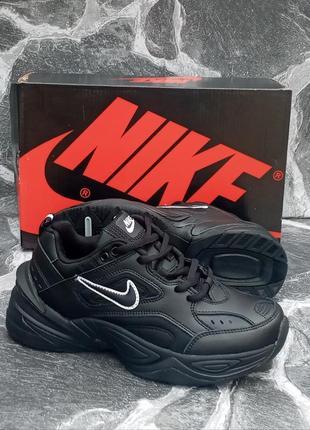 Черные кроссовки nike m2k tekno кожаные,женские